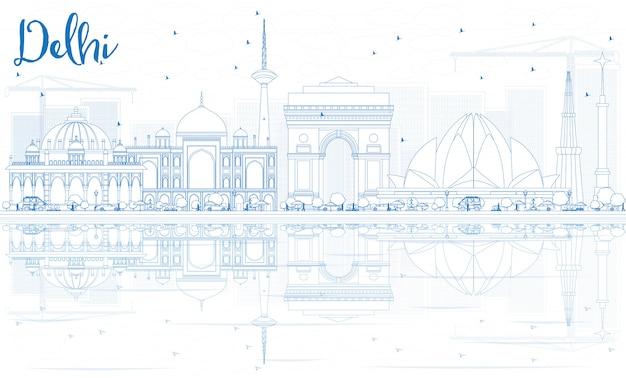 青い建物と反射でデリースカイラインの概要を説明します。