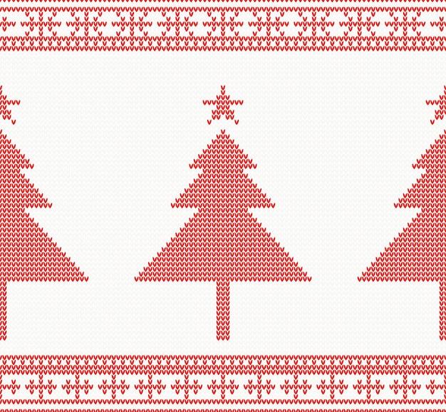 Рождество вязаный бесшовный фон с деревом.