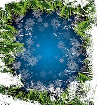 Рождественский фон с белыми снежинками на синем