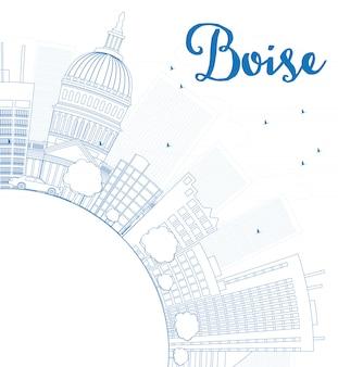 青い建物とコピースペースとアウトラインボイシスカイライン