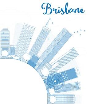 青い建物とコピースペースとブリスベンのスカイラインの概要