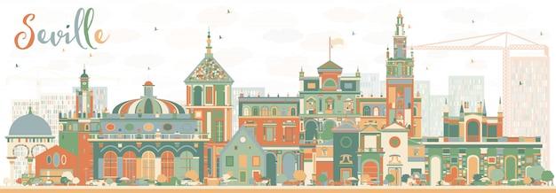 色の建物と抽象的なセビリアのスカイライン。