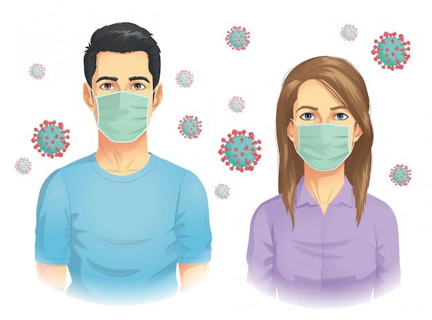 コロナウイルスの大流行で男女がマスクを着用