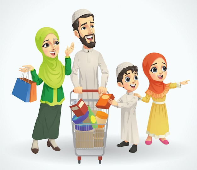 Мусульманская семья за покупками с тележкой
