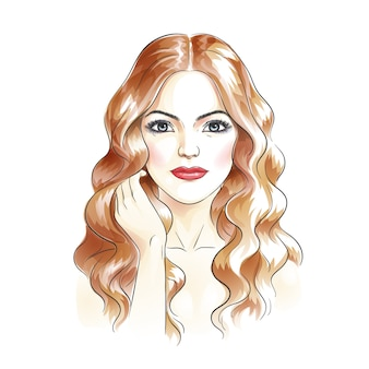 美容女性水彩手描き