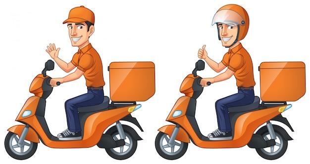 Курьер мальчик едет на скутере