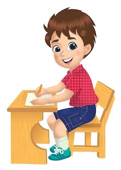 テーブルで勉強している少年