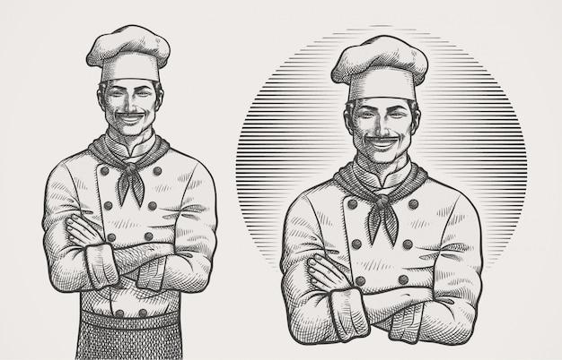Мужской шеф-повар штриховки иллюстрация