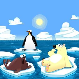 Северный полюс фон животные