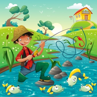 川の背景に漁師