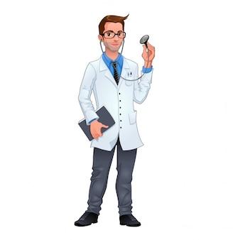 Молодой врач, изолированных векторный характер
