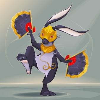 Таинственный заяц танцует с веерами в руке мультфильм и векторные иллюстрации