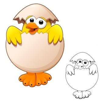 Забавный цыпленок в яйце мультфильмов и векторных символов, изолированные