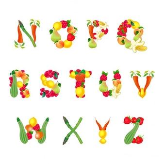 Алфавит состоит из фруктов и овощей второй части вектор изолированных элементов