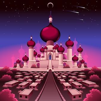 Аравийский замок в ночь векторные иллюстрации