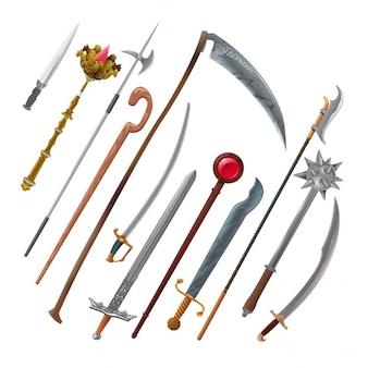 Набор различных видов оружия, векторные изолированные объекты
