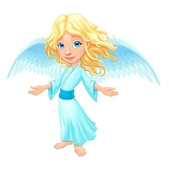 Улыбаясь ангел с крыльями мультфильм вектор изолированный характер