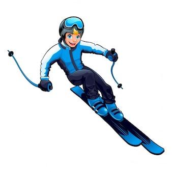 Молодой лыжник вектор мультфильм изолированный характер