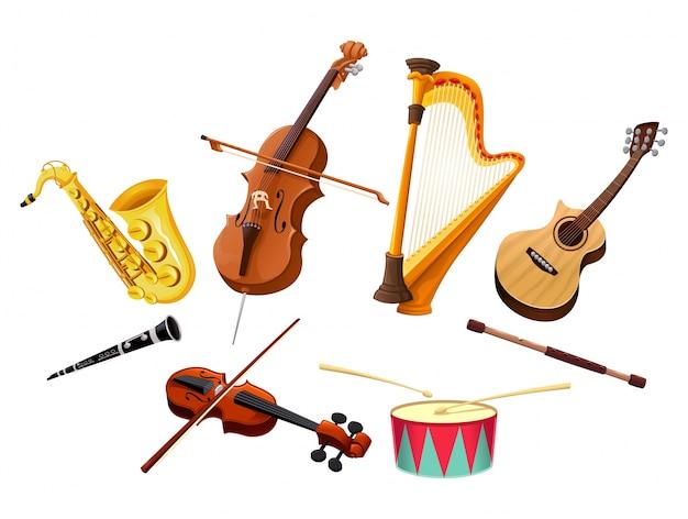 Музыкальные инструменты векторные изолированные объекты