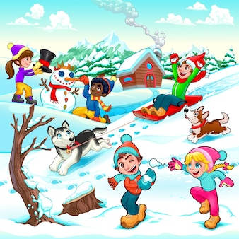 Смешные зимняя сцена с детьми и собаками мультфильм векторные иллюстрации