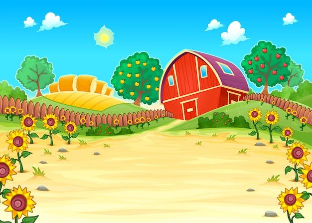 Забавный пейзаж с фермы и подсолнухами мультфильм векторные иллюстрации