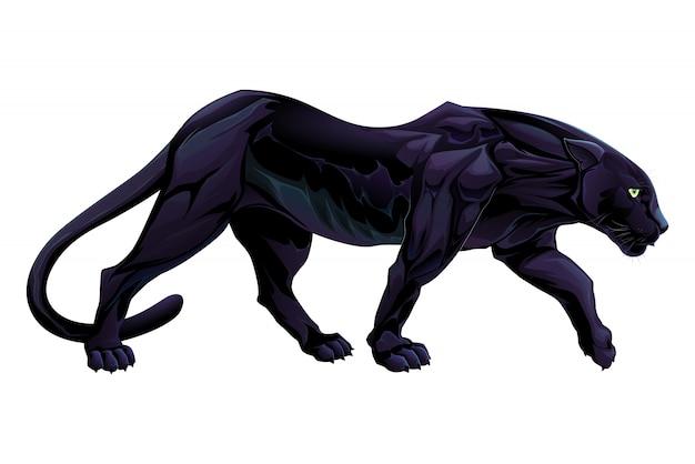 Иллюстрация черная пантера вектор изолированный объект
