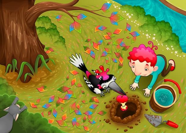 キツツキとその少年はリンゴの種子を播種している