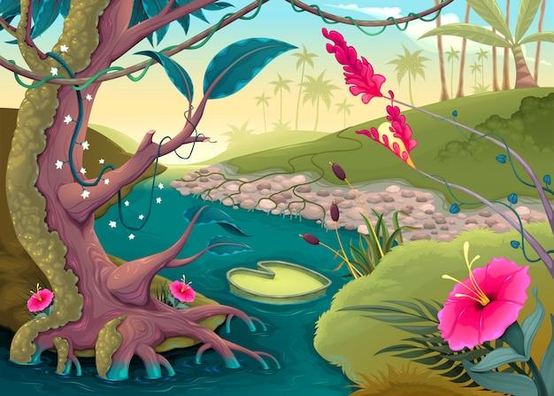 色とりどりの花と川で森を見る