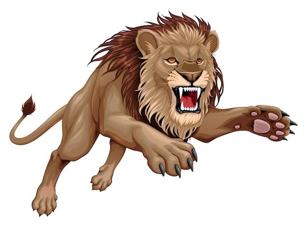 怒っているライオンが跳んでいます