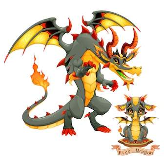 火の要素、子犬と大人のドラゴン