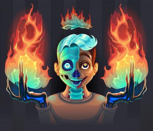 彼の手で火を持つ幽霊少年