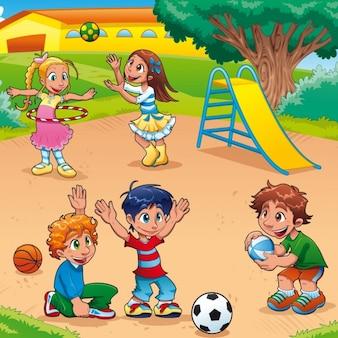 公園で遊んで素敵な子どもたちの背景