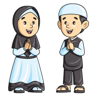 サラームに挨拶するイスラム教徒の子供たち