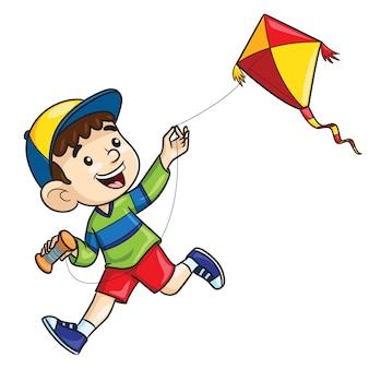 Мультяшный мальчик играет с воздушным змеем