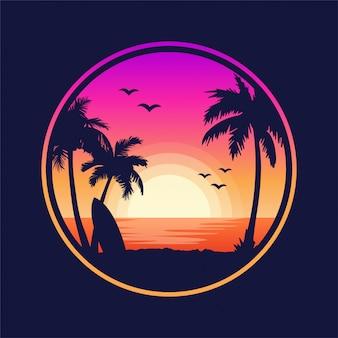熱帯のビーチの夕日の風景