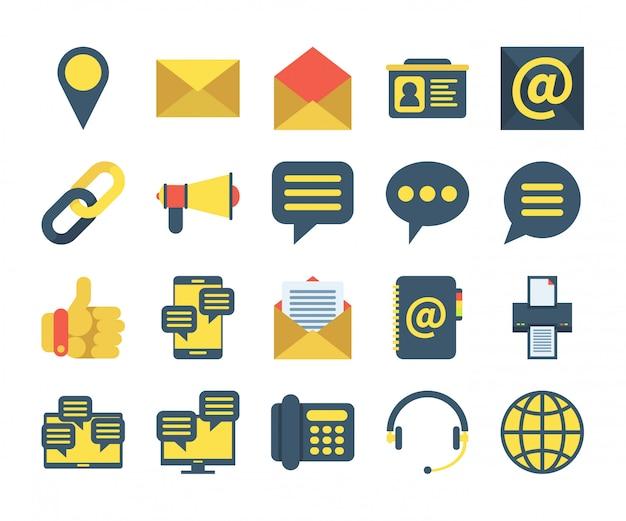 フラットスタイルのお問い合わせアイコンのシンプルなセット。場所、アドレス帳、メッセージ、サポートなどのアイコンが含まれています。