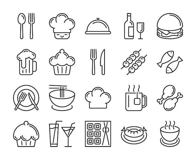 食べ物や飲み物のアイコン。レストランラインのアイコンを設定します。編集可能なストローク、ピクセルパーフェクト。