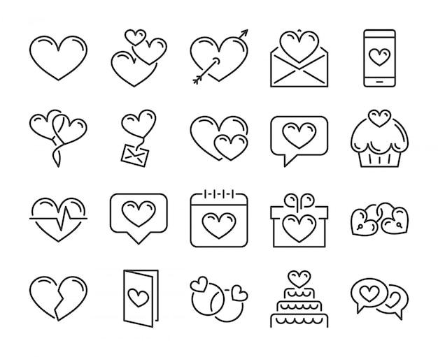 愛のアイコン。ロマンチックな心、バレンタインの日行のアイコンを設定します。編集可能なストローク、ピクセルパーフェクト。