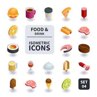 食べ物や飲み物のアイコンのシンプルなセット。