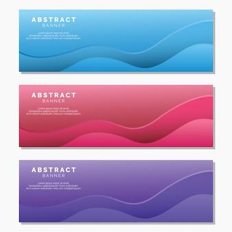 抽象的な波バナーセット