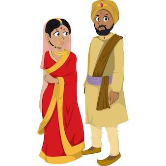 白い背景に分離された伝統的な服でインドの男女。