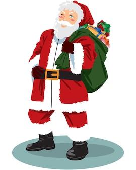 贈り物でいっぱいのバッグでポーズをとるサンタクロースの全身。