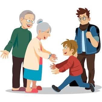 祖父母と会う幸せな子供。幸せな家族訪問。