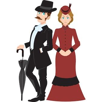 Английский мужчина и женщина в традиционной одежде, изолированные на белом фоне.