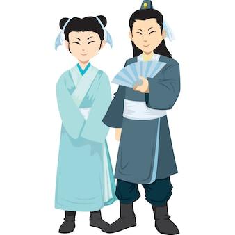 Китайский мужчина и женщина в традиционной одежде, изолированные на белом фоне.