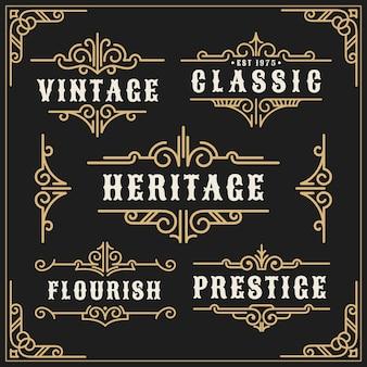 Винтаж расцветает рамкой из винограда и роскошной каллиграфической декоративной рамкой