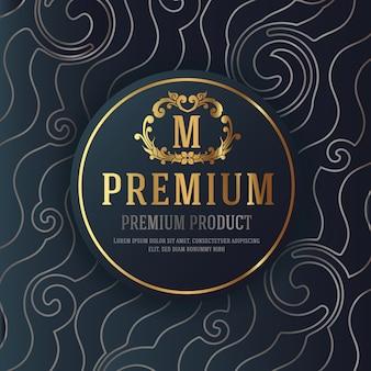 Премиум роскошный дизайн упаковки с геральдической эмблемой этикетки