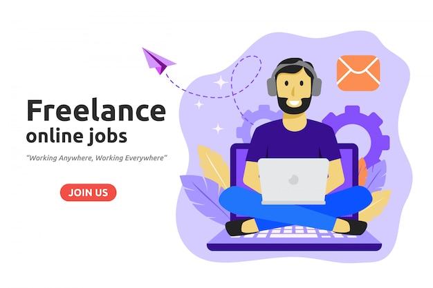 フリーランスのオンライン雇用設計コンセプト