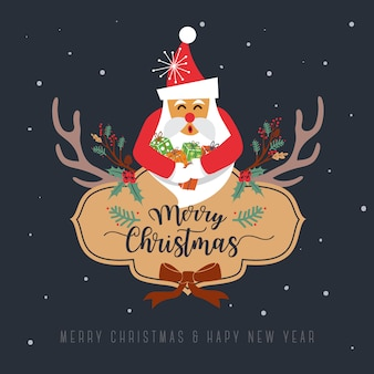 メリークリスマスグリーティングカードデザイン。ベクトル図