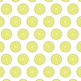 レモンスライスのシームレスなパターン、柑橘系の果物の背景